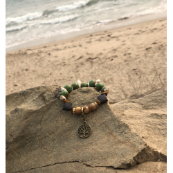 Jasper Shell Tree of Life Bracelet
