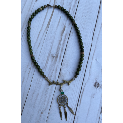 Boho Tree Branch and Dream Catcher Necklace